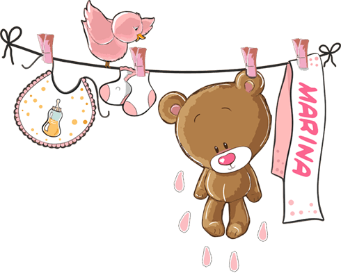 Stickers for Kids: Custom bear on the clothesline pink 0