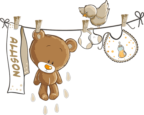 Stickers for Kids: Custom bear on the clothesline neutral
