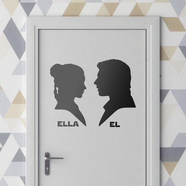 Wall Stickers: Leia and Han Solo signage bathroom