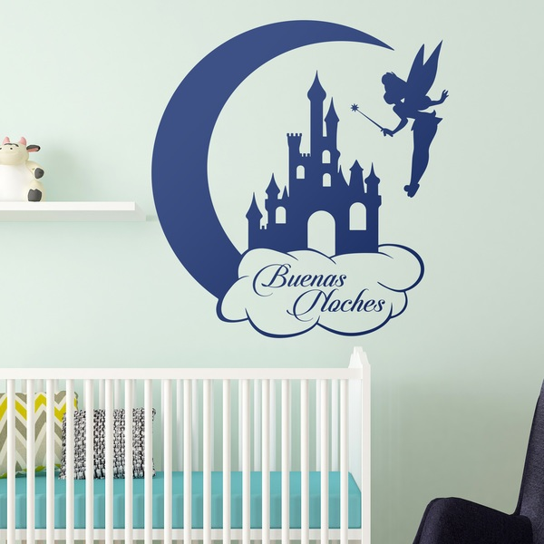 Stickers for Kids: Tinkerbell, Castle and Moon. Buenas Noches