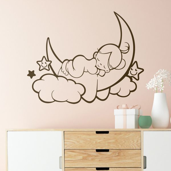 Stickers for Kids: Girl sleeping on the moon and stars