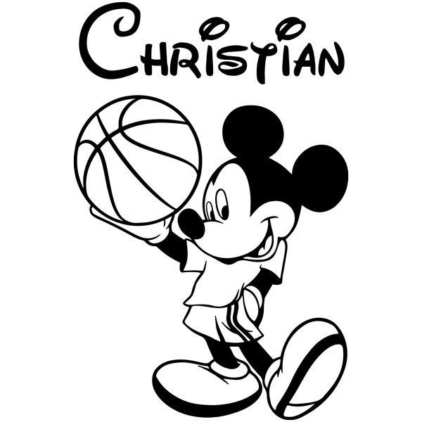 Stickers for Kids: Mickey Mouse with a basketball