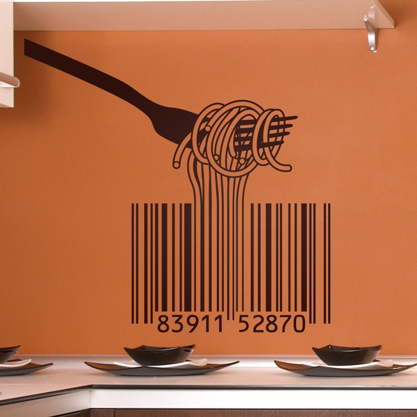 Wall Stickers: Fork, spaghetti and barcode
