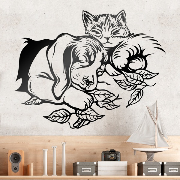Wall Stickers: Dog and cat sleeping