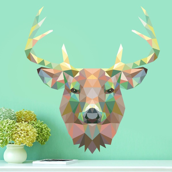 wall sticker deer head origami. Black Bedroom Furniture Sets. Home Design Ideas