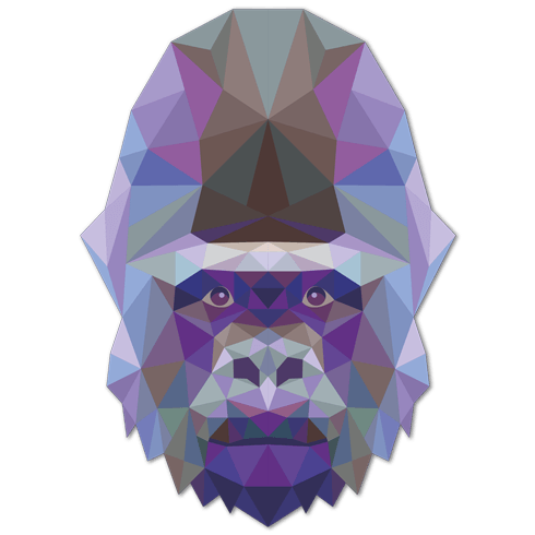 Wall Stickers: Gorilla head origami 0