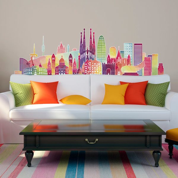 Wall Stickers: Barcelona skyline color