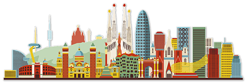 Wall Stickers: Barcelona skyline watercolor 0