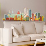 Wall Stickers: Barcelona skyline watercolor 3