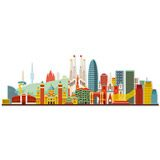 Wall Stickers: Barcelona skyline watercolor 4