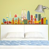 Wall Stickers: Barcelona skyline watercolor 5