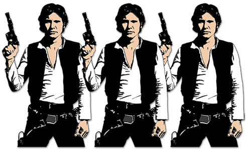 Wall Stickers: Triptych Han Solo Pop Art