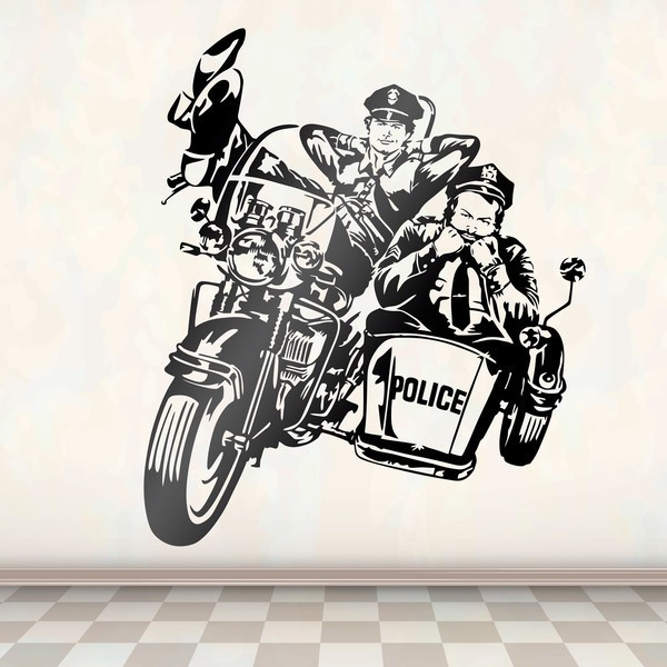 Wall Stickers: Bud Spencer and Terence Hill Policemen on a motorc