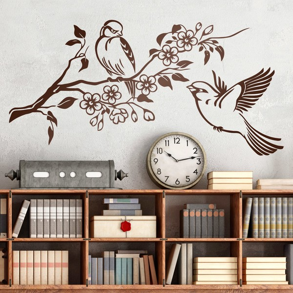 Wall Stickers: Pair of birds on branch and flowers