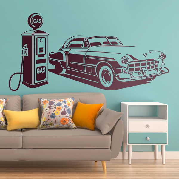 Wall Stickers: American car at gas station 0