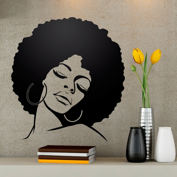 Wall Stickers: Lauryn Hill with Afro hairstyle 0