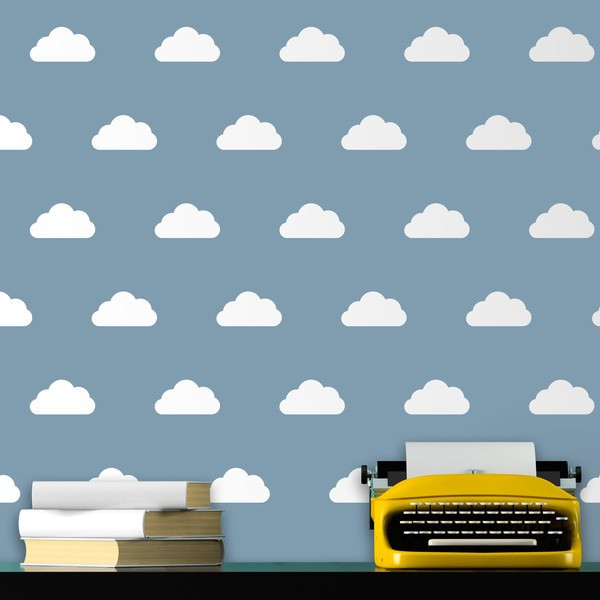 Wall Stickers: Kit of 12 vinyl clouds