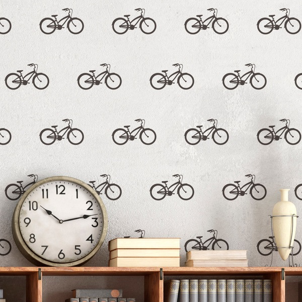 Wall Stickers: Kit 9 stickers Vintage Bicycle