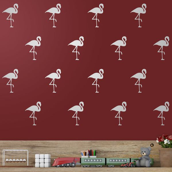 Wall Stickers: Kit 12 stickers flamingo