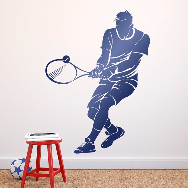 Wall Stickers: Tennis player backhand two hands