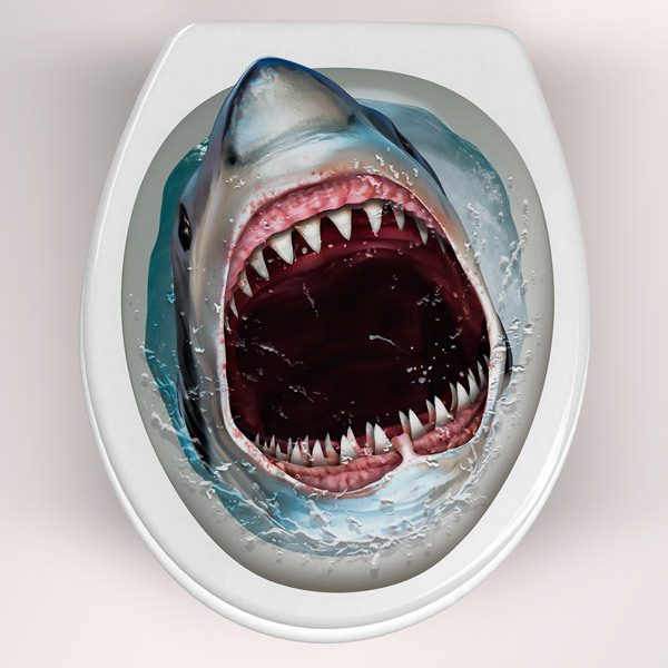 Wall Stickers: Shark coming out of the toilet bowl