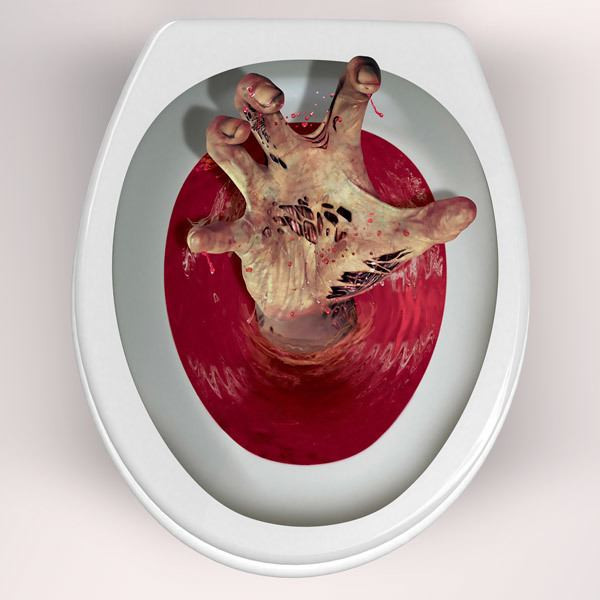 Wall Stickers: Zombie hand coming out of the toilet