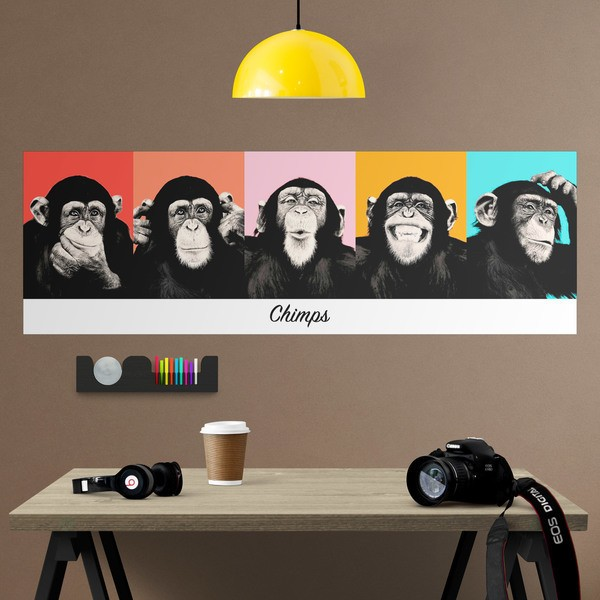 Wall Stickers: Adhesive poster of 5 Chimpanzees