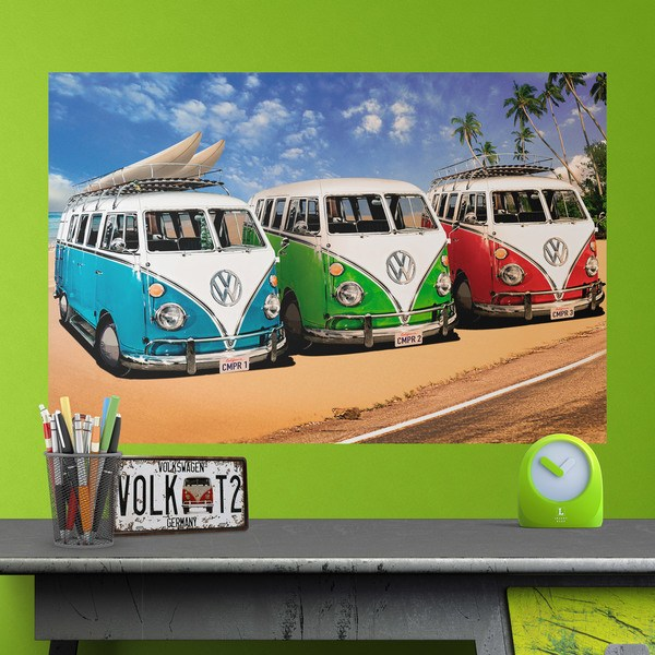 Wall Stickers: 3 Volkswagen Hippie vans