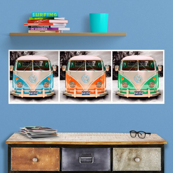 Wall Stickers: 3 Volkswagen T1 (kombi)
