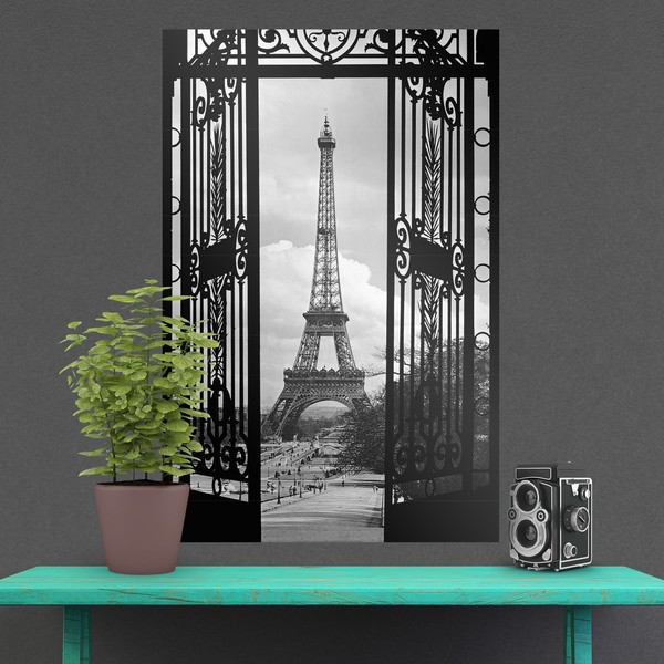 Wall Stickers: Adhesive poster iron gate and Eiffel Tower