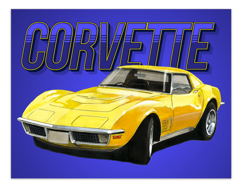 Wall Stickers: Adhesive poster Corvette C3