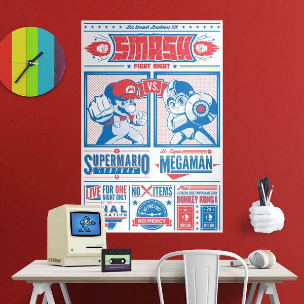 Wall Stickers: Adhesive poster Mario Bros vs Megaman