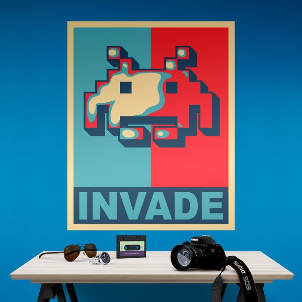 adhesive poster invader obama style