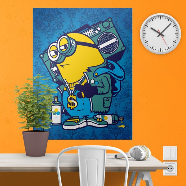 Wall Stickers: Adhesive poster Minion Bomb Box Graffiti