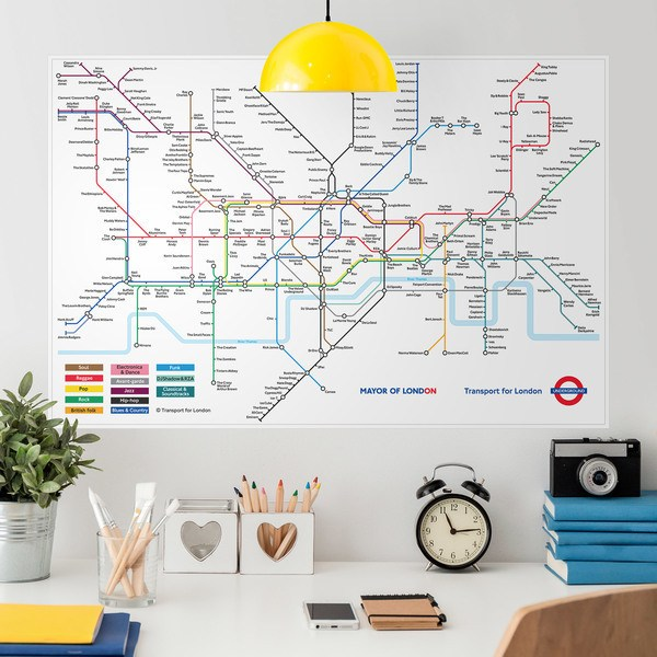 Wall Stickers: Map of the London Underground with Rock Bands