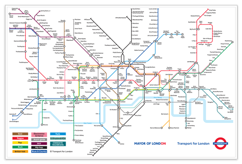 wall stickers map of the london underground with rock bands