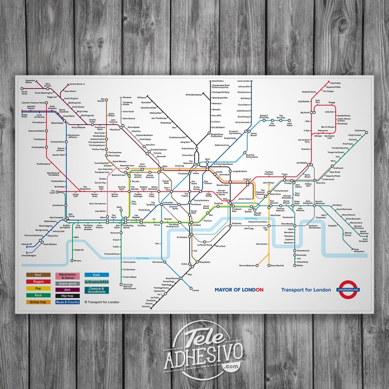 Subway Map Wall Art Wall Art Stickers Wall Decal Huge Underground Tube Map.Poster Sticker London Underground Map With Rock Bands Muraldecal Com