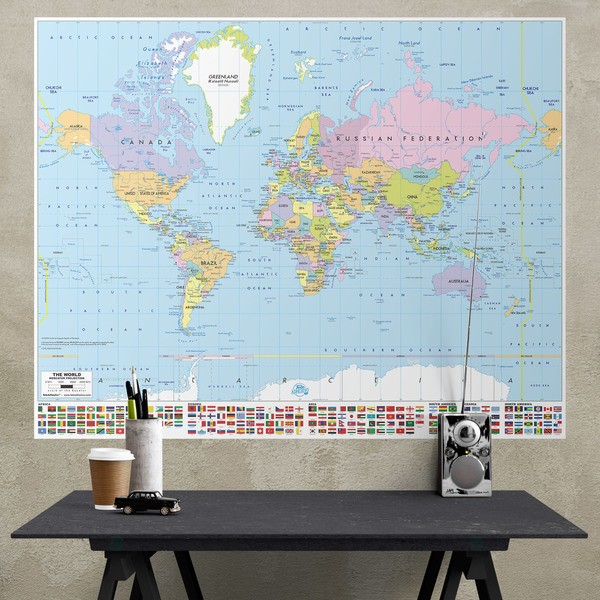 World map wall stickers muraldecal wall stickers adhesive poster world map with flags gumiabroncs Image collections