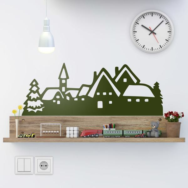 Wall Stickers: Village in winter
