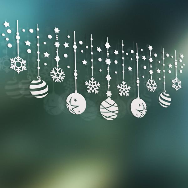 Wall Stickers: Christmas composition of balls and stars