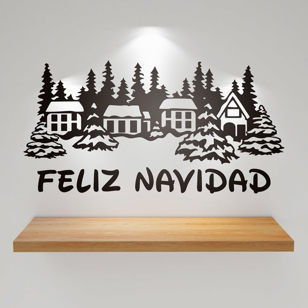 Wall Stickers: Snowy houses and Merry Christmas 1