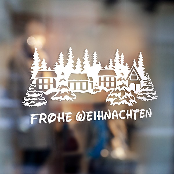 Wall Stickers: Frohe Weihnachten in snowy village 0