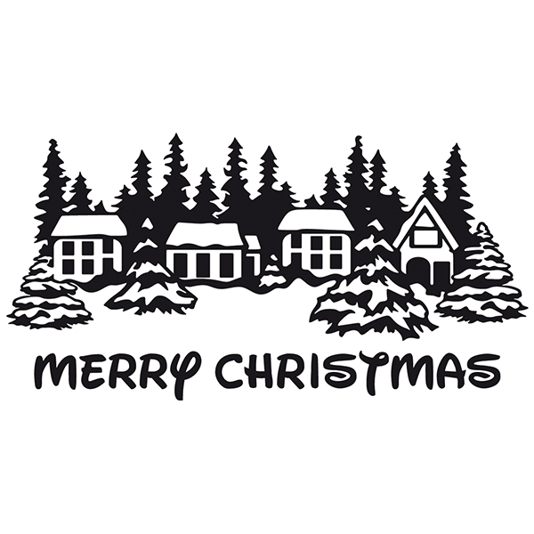 Wall Stickers: Merry christmas in snowy village