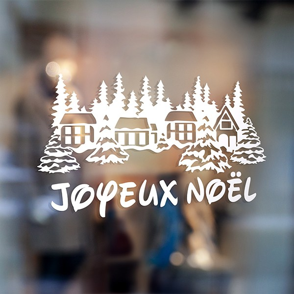 Wall Stickers: Joyeux Noël in snowy village 0