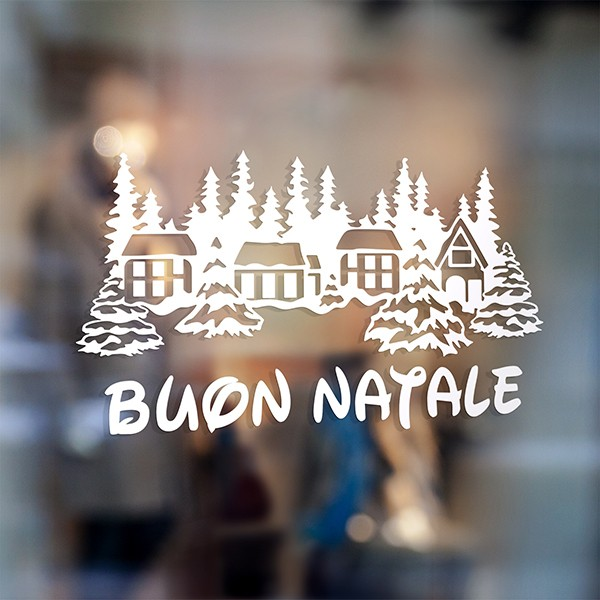 Wall Stickers: Buon Natale in snowy village
