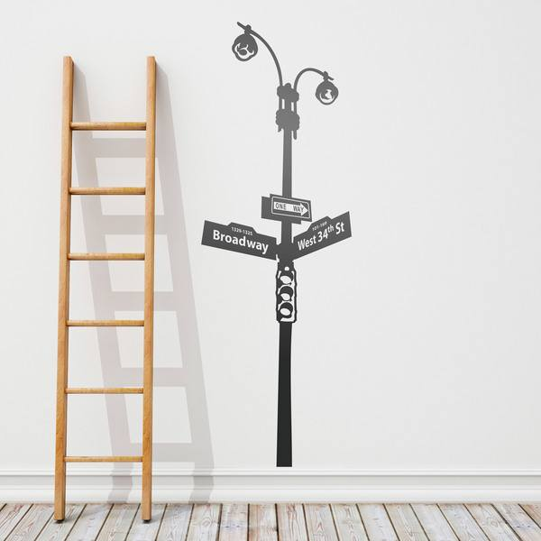 Wall Stickers: Street light with signs and traffic light