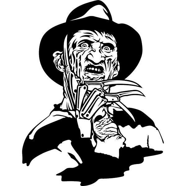 Chucky Clipart Black And White: Wall Sticker Freddy Krueger