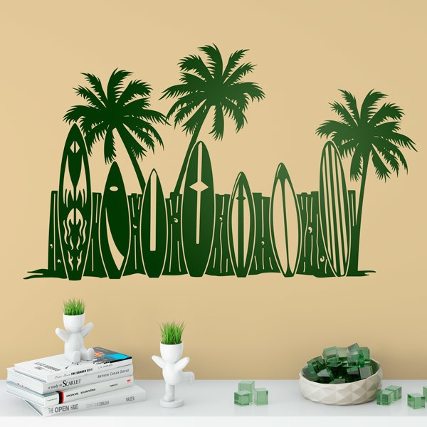 Wall Stickers: Palm trees and surfboards on the beach