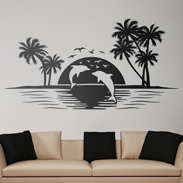 Wall Stickers: Skyline Dolphins