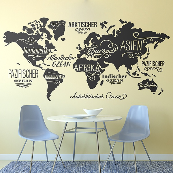 World map wall stickers muraldecal wall stickers map mundi oceans and continents in german gumiabroncs Images